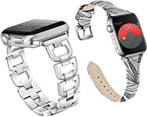 Stainless Steel apple watch band 38mm 40mm and Elegant leather iWatch band - Best Price for 2 Bands