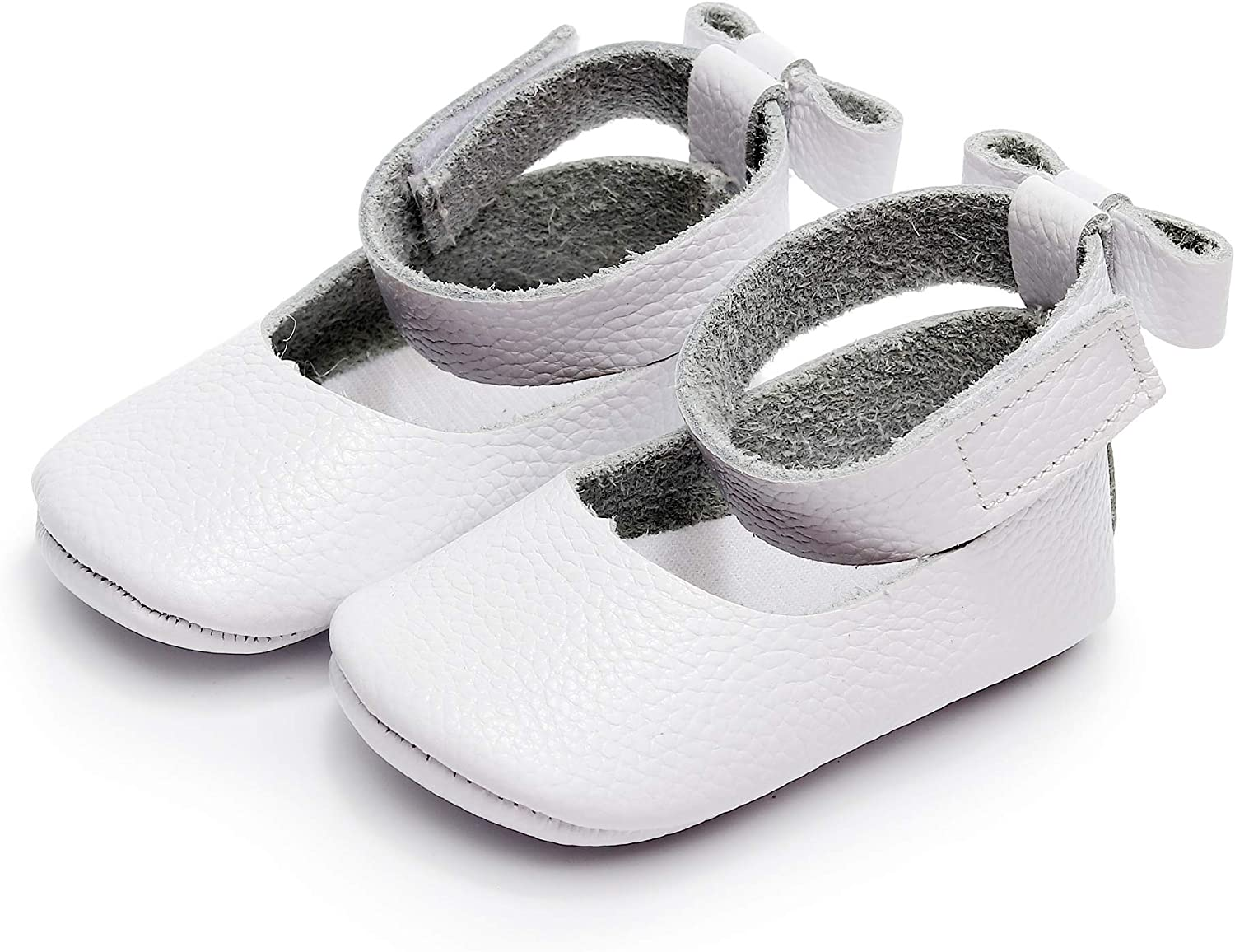 Bebila/ Ankle Strap Genuine Leather Baby Girls Sandals Bowknot Mary Janes Baby Shoes Toddler Moccasins