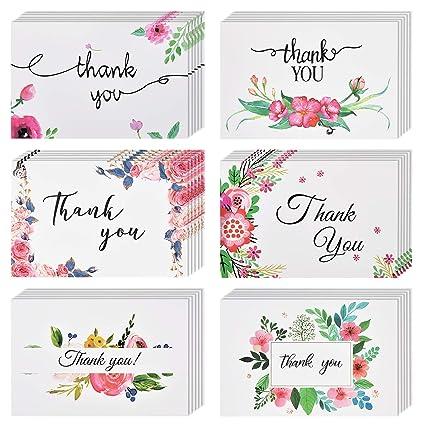 Tarjetas de agradecimiento [48 unidades, 6 diseños] Tarjetas ...