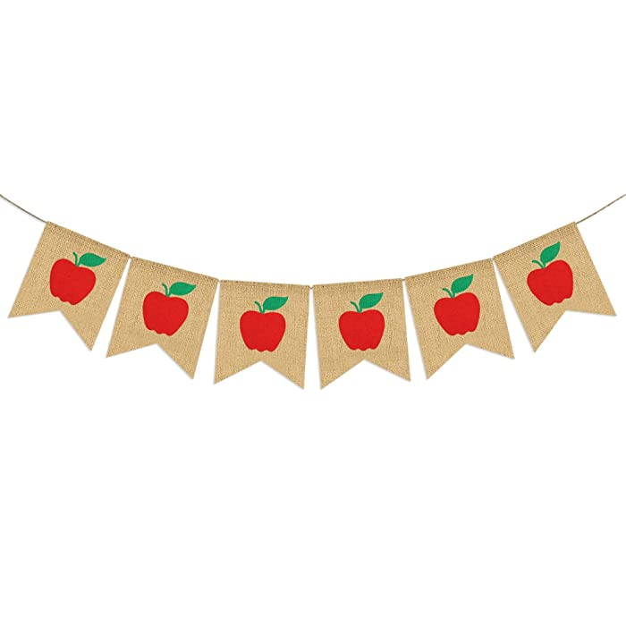 Apples Banner Burlap - Back To School Banner - Fall Banner - School Banner - Classroom Decor - Teacher Gifts - Apple Themed Party Decorations