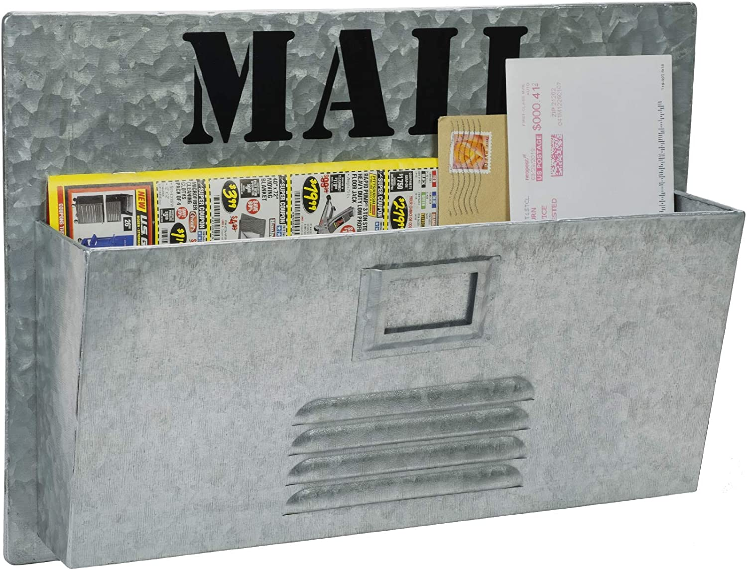 """Excello Global Products Metal Mail Organizer: Vintage Distressed Mailbox, Antique Metal Wall Mounted Storage Holder (11""""x15.75"""")"""