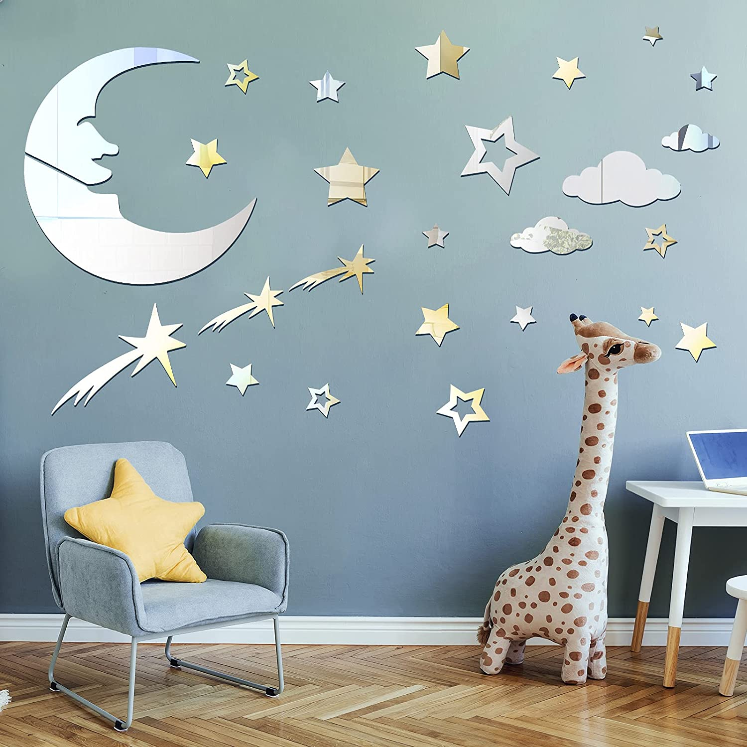 82 Pieces Moon and Stars Mirror Decals Removable 3D Acrylic Mirror Stickers Moon and Stars Wall Stickers Home Decor for Living Room Kids' Room Nursery Decoration