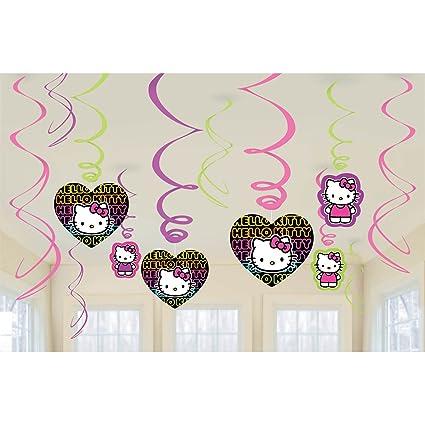 Amazon Com Amscan Hello Kitty Neon Tween Swirl Decorations 12pc