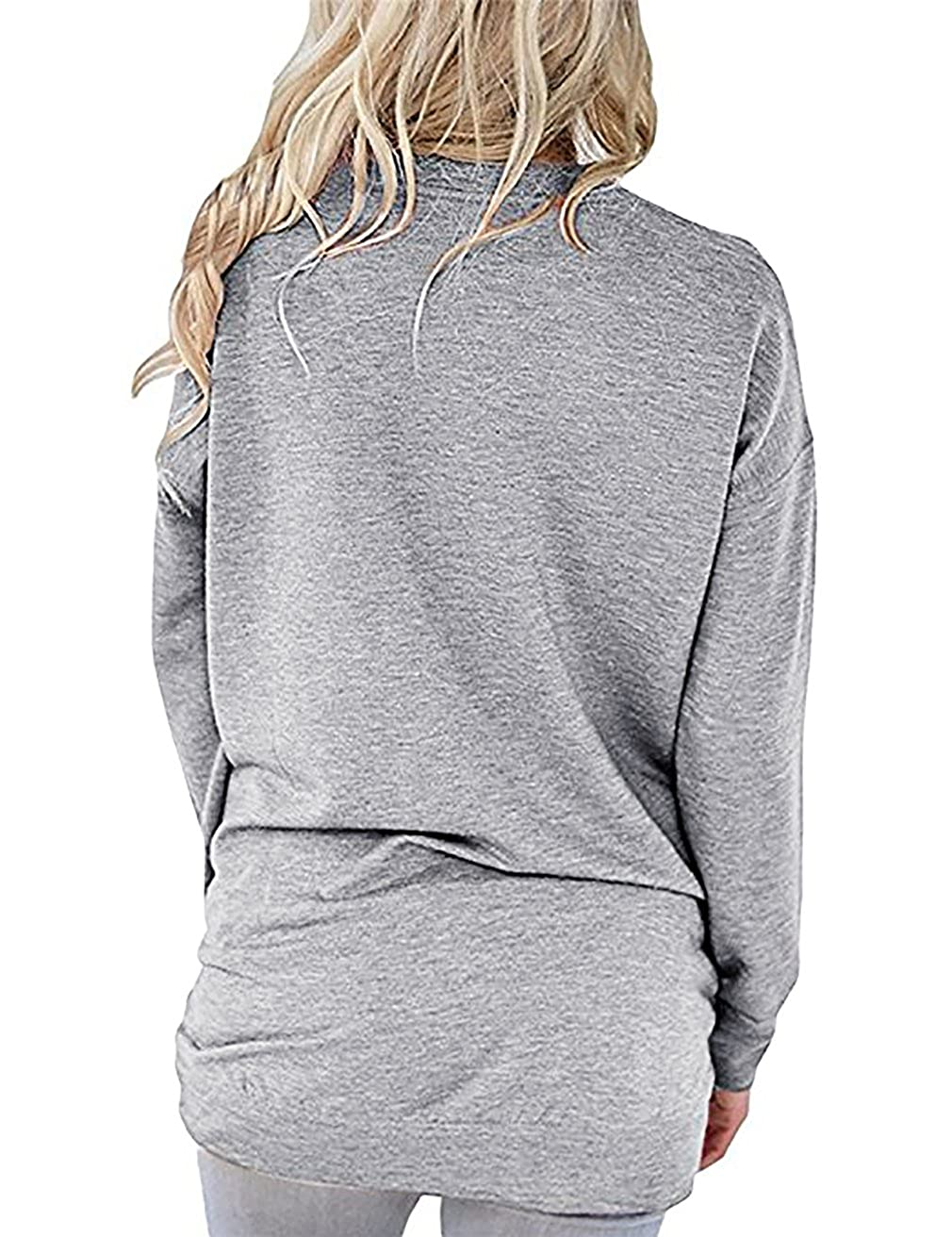 FANSIC Women Solid Color Crew Neck Casual Long Sleeve Pullover Tunic Top with Pockets