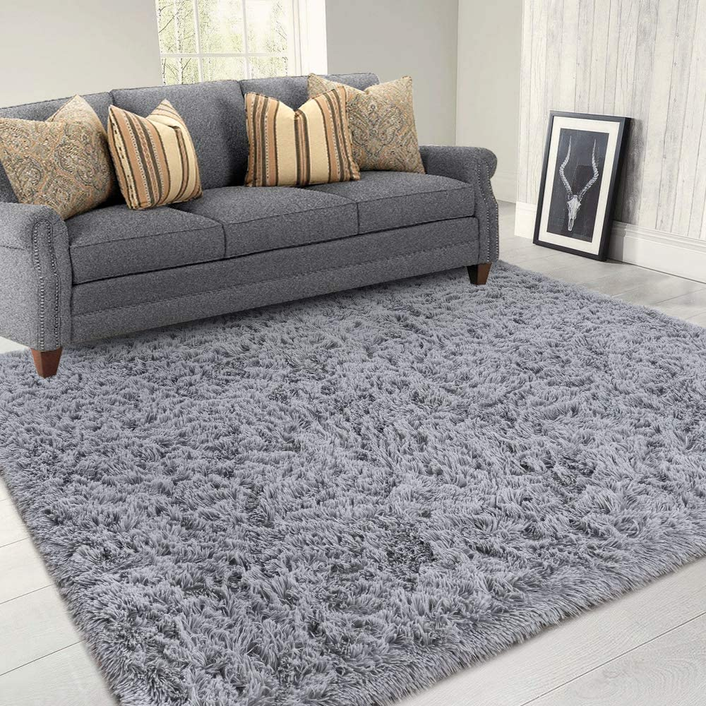 Lochas Area Rugs For Living Room Fluffy Shaggy Super Soft Carpet Suitable As Bedroom Rug Nursery Rugs Kids Mat Large Floor Mat Furry Plush Rug For Home Decor 120 X 160cm Grey