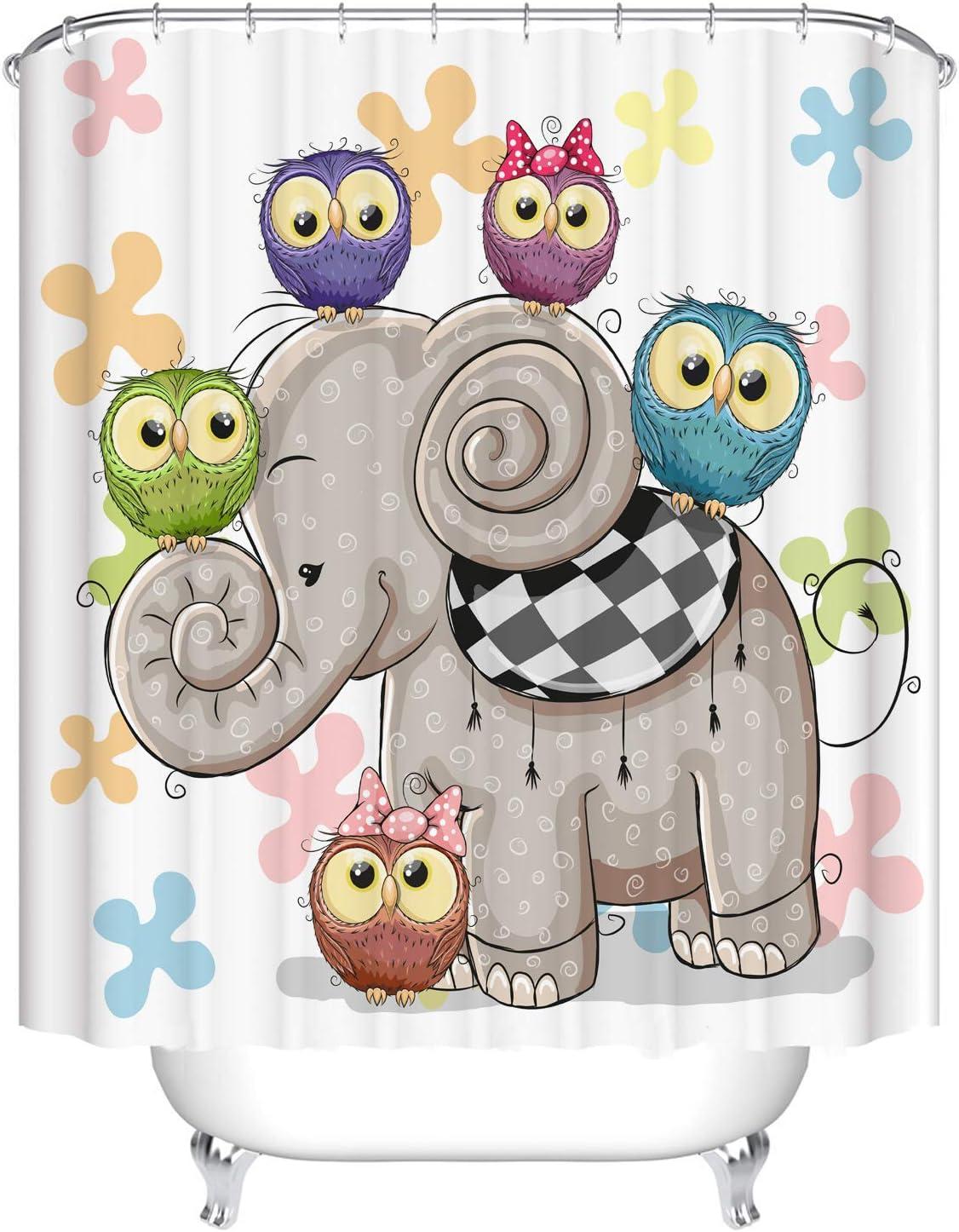 Dodou Cartoon Animal Shower Curtain Art Bathroom Decor Cute owl and Elephant Design Polyester Waterproof Fabric Bathroom Accessories with Hooks (72''Wx72''H)
