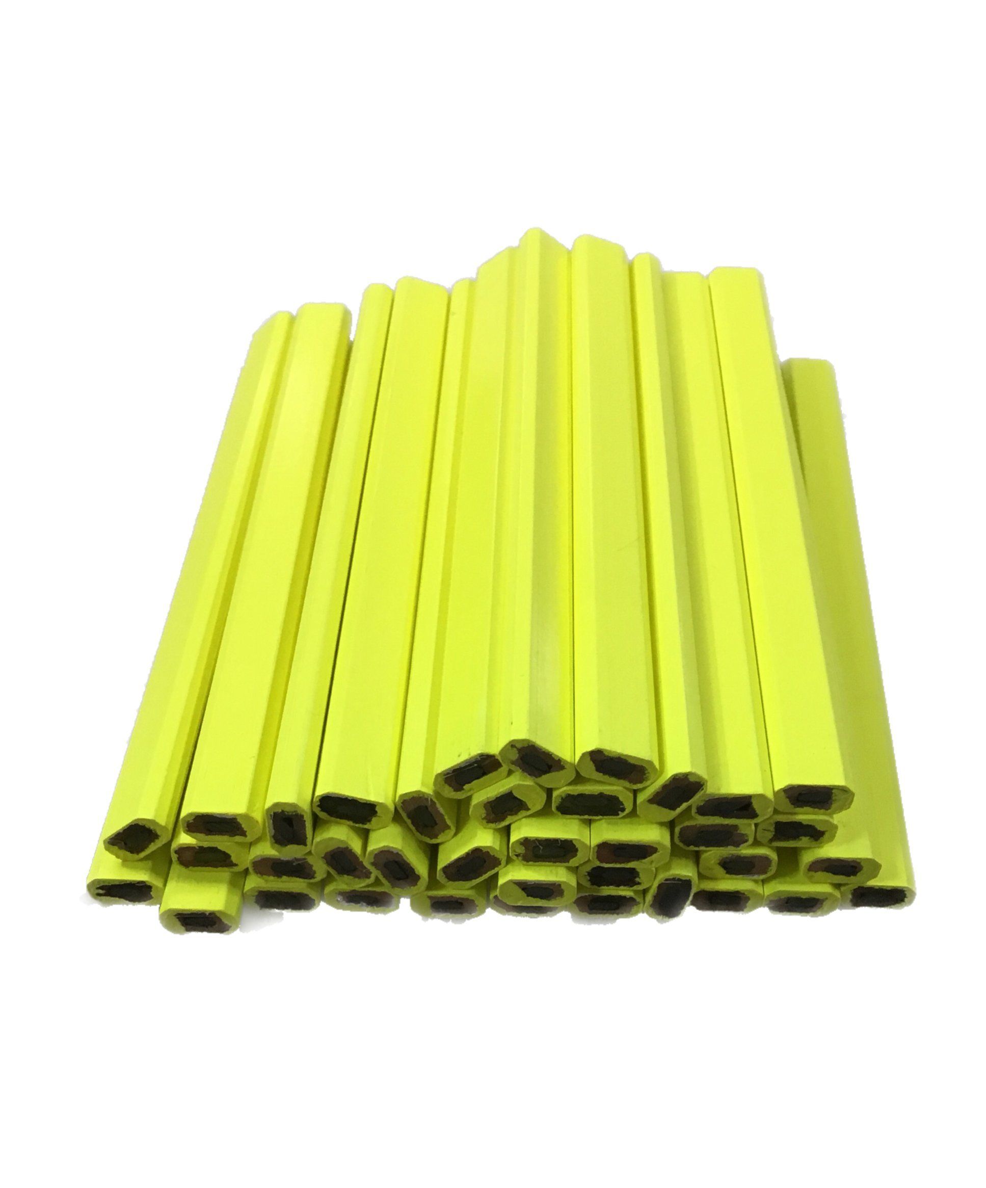 Flat Wooden Neon Yellow Carpenter Pencils - 72 Count Bulk Box Made In The USA by Rockvale Retail Carpenter Pencils (Image #1)