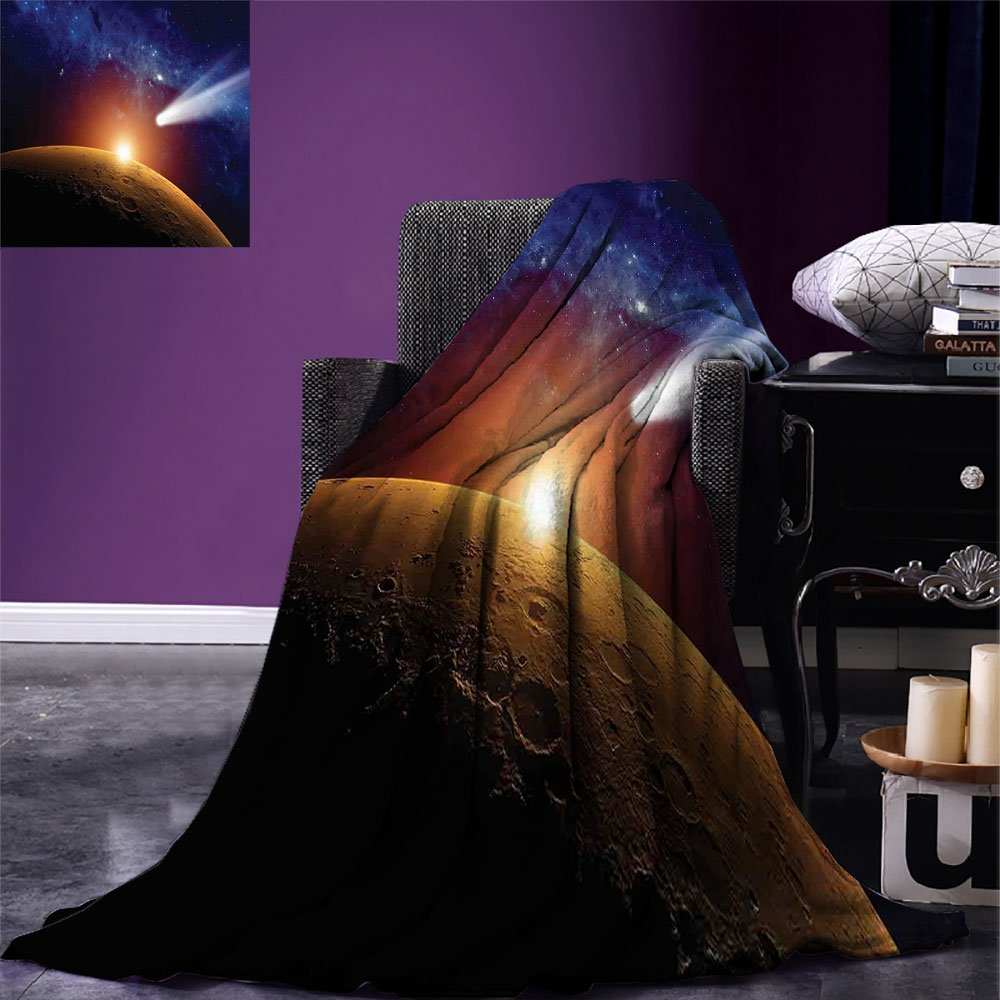 smallbeefly Outer Space Custom Design Cozy Flannel Blanket Comet Tail Approaching Planet Mars Fantastic Cosmos Dark Solar System Scenery Lightweight Blanket Extra Big Bue Orange