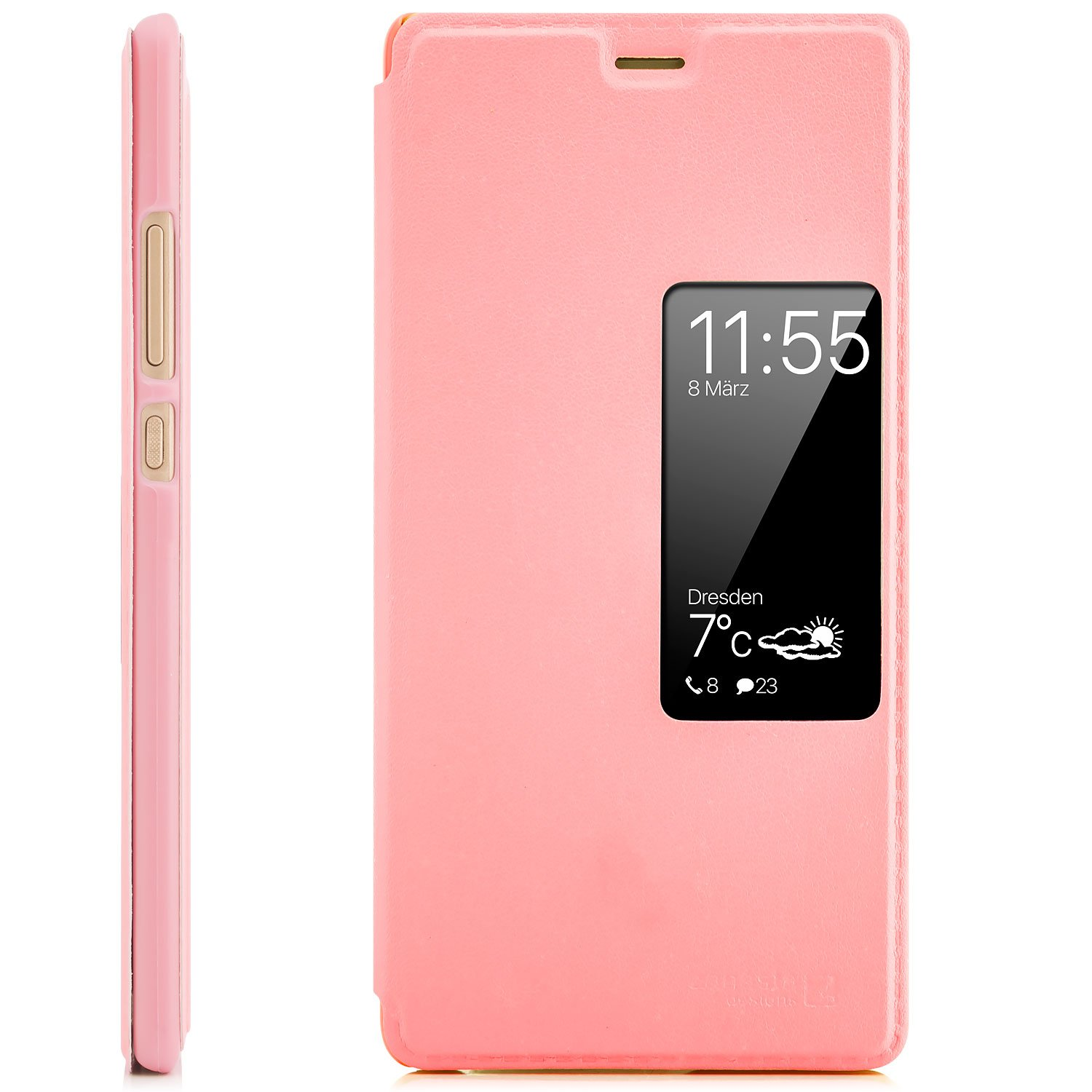 Huawei P9 Case Protector Flip Cover [Zanasta Designs] Phone Wallet / View Flip Case with Window, High Quality Premium [Slim Profile] Pink