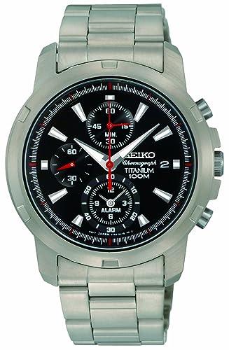 Seiko SNAE47P1 - Reloj cronógrafo de caballero de cuarzo con correa de titanio gris (alarma, cronómetro) - sumergible a 100 metros: Amazon.es: Relojes