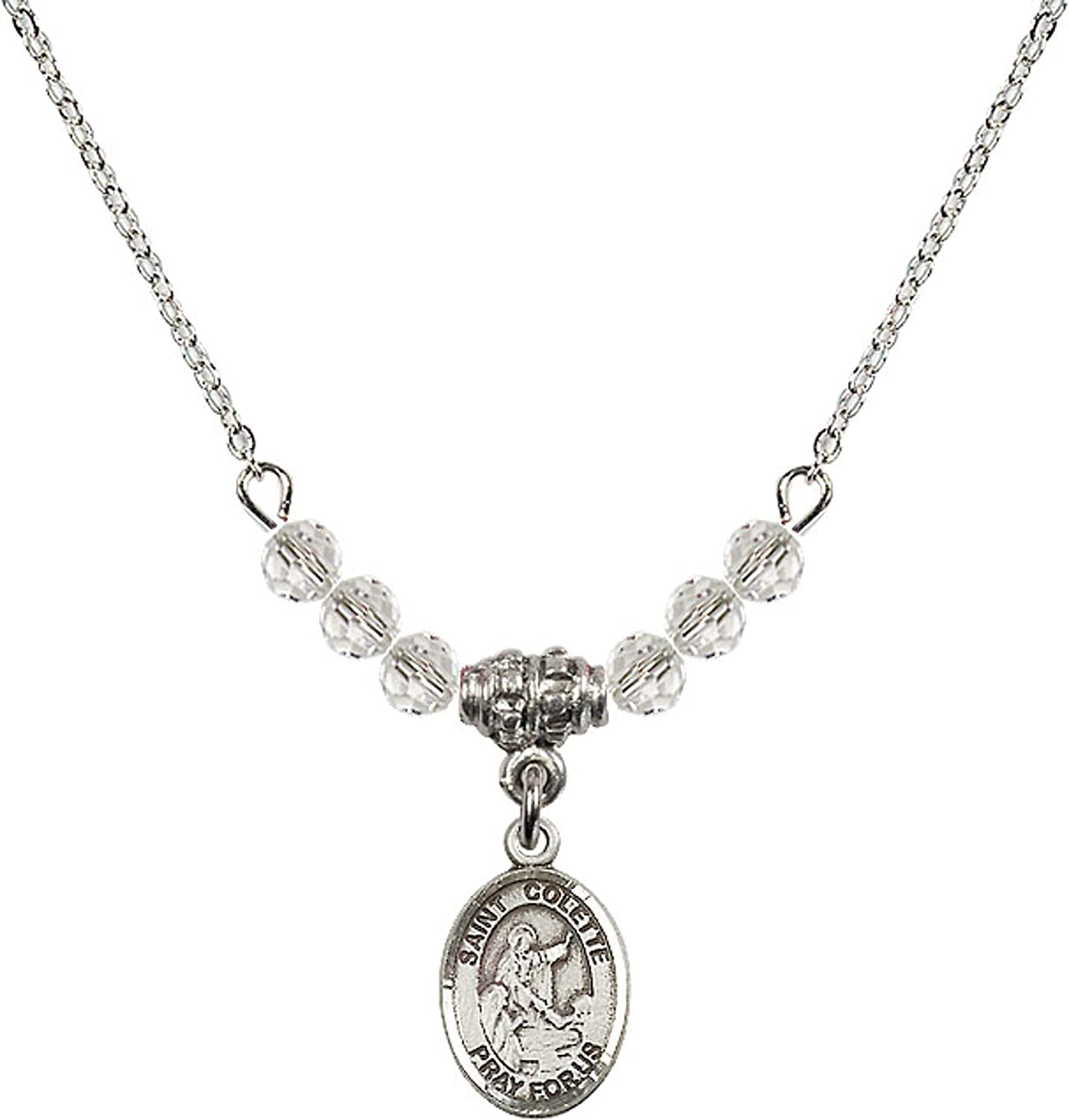 Bonyak Jewelry 18 Inch Rhodium Plated Necklace w// 4mm White April Birth Month Stone Beads and Saint Colette Charm