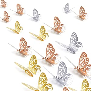 DOERDO 36PCS 3D Butterfly Wall Decor, Butterfly Cake Decorations,for Home Decor Kids Bedroom DIY Cake Decor, Background Wall Decoration(3 Colors,Gold, Silver, Rose Gold)