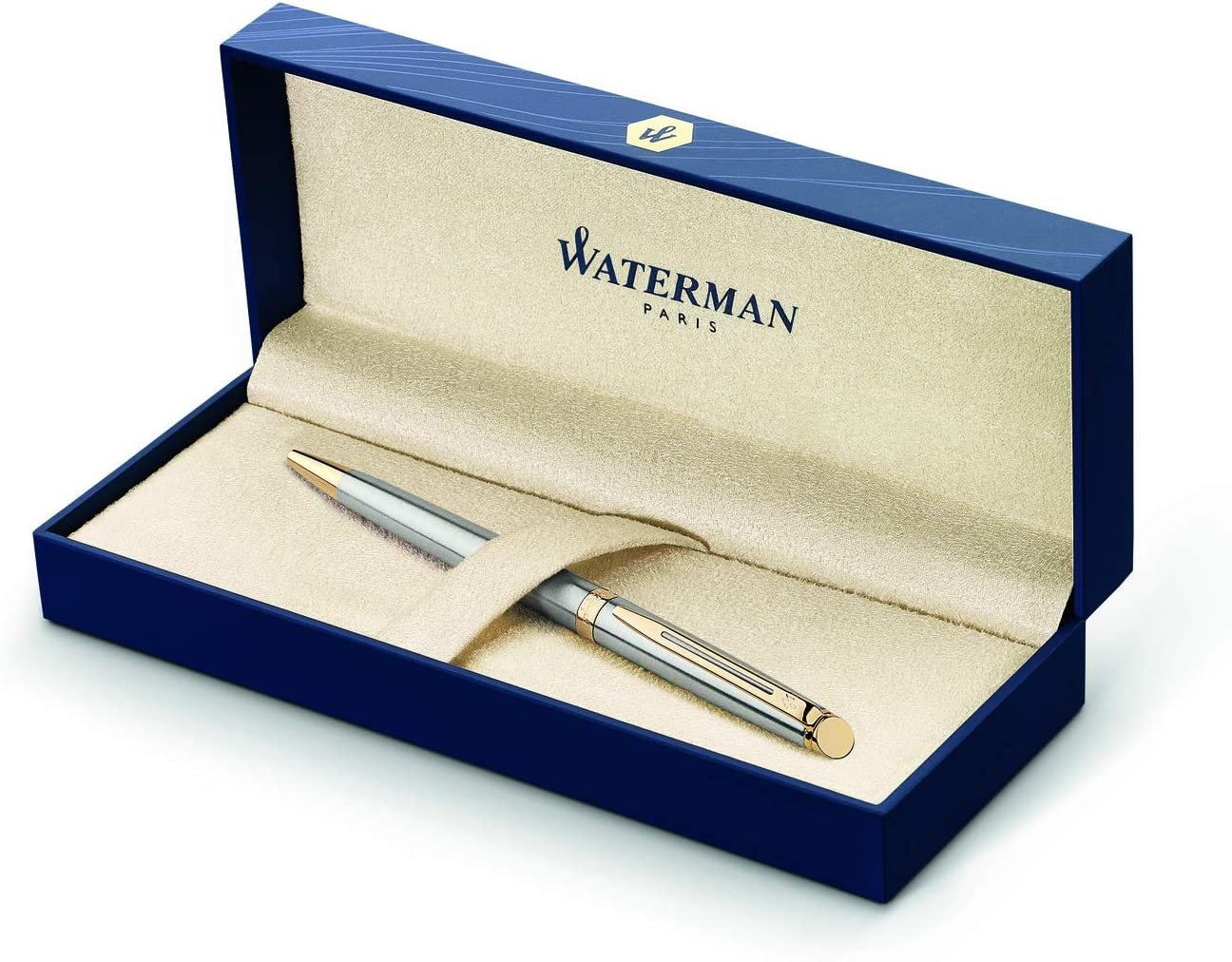 Waterman Hémisphère bolígrafo, con adorno cromado, punta media con cartucho de tinta azul, estuche de regalo, color blanco brillante: Amazon.es: Oficina y papelería