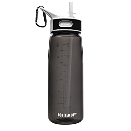 3a1380d8f7 BOTTLED JOY Dishwasher Safe Water Bottle with Straw/Flip Top (Optional) and  Handle - 100% BPA-Free Tritan Lightweight Wide Mouth Sports Bottle for  Outdoor ...