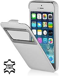 StilGut, UltraSlim, pochette exclusive en cuir véritable avec clapet et petit hublot (iOS 7) pour l'iPhone 5 & 5s d'Apple, blanc