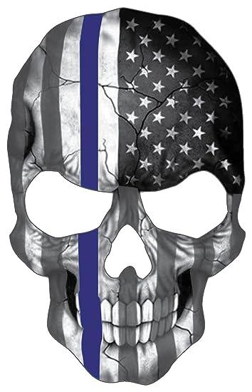 amazon com blueline skull subdued thin blue line american flag