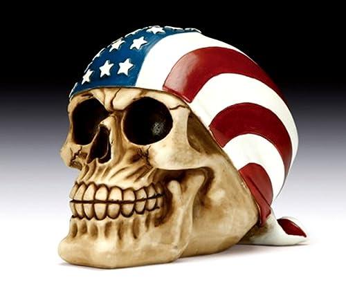 American Flag Skull Bandana Figurine Polyresin Home Decor Bikers Halloween Figurine
