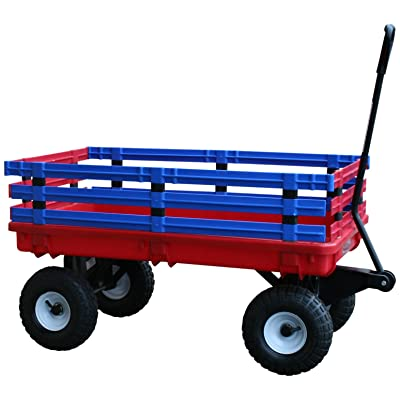 Millside Industries Trekker Wagon with Red and Blue Removable Poly Rack Set: Toys & Games