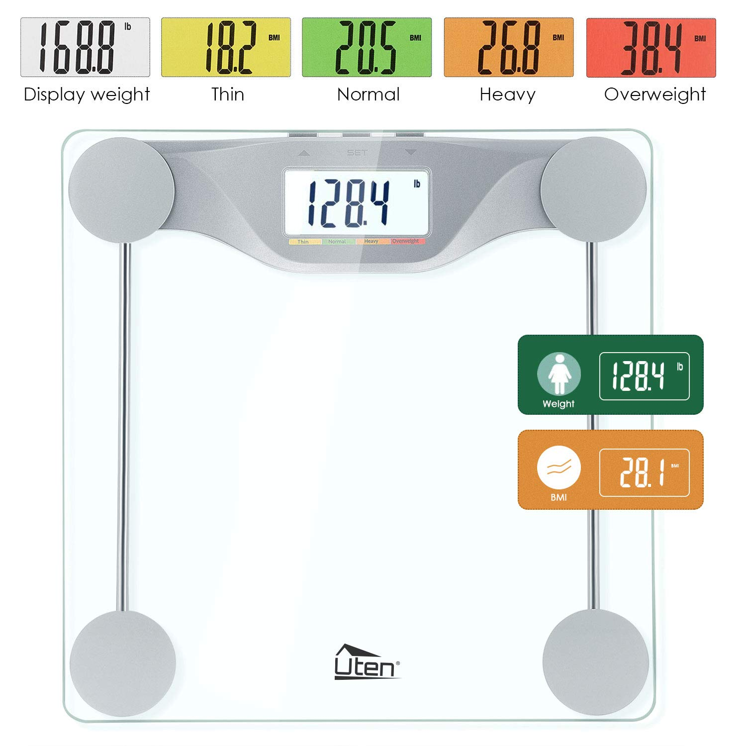 Uten Digital Body Fat Bathroom Scale with BMI High-Precision Smart Weight Scales with Large Backlight 5 Colors LCD Display, Step-On Technology, Round Corner Design and 6MM Glass 400lb Capacity by Uten