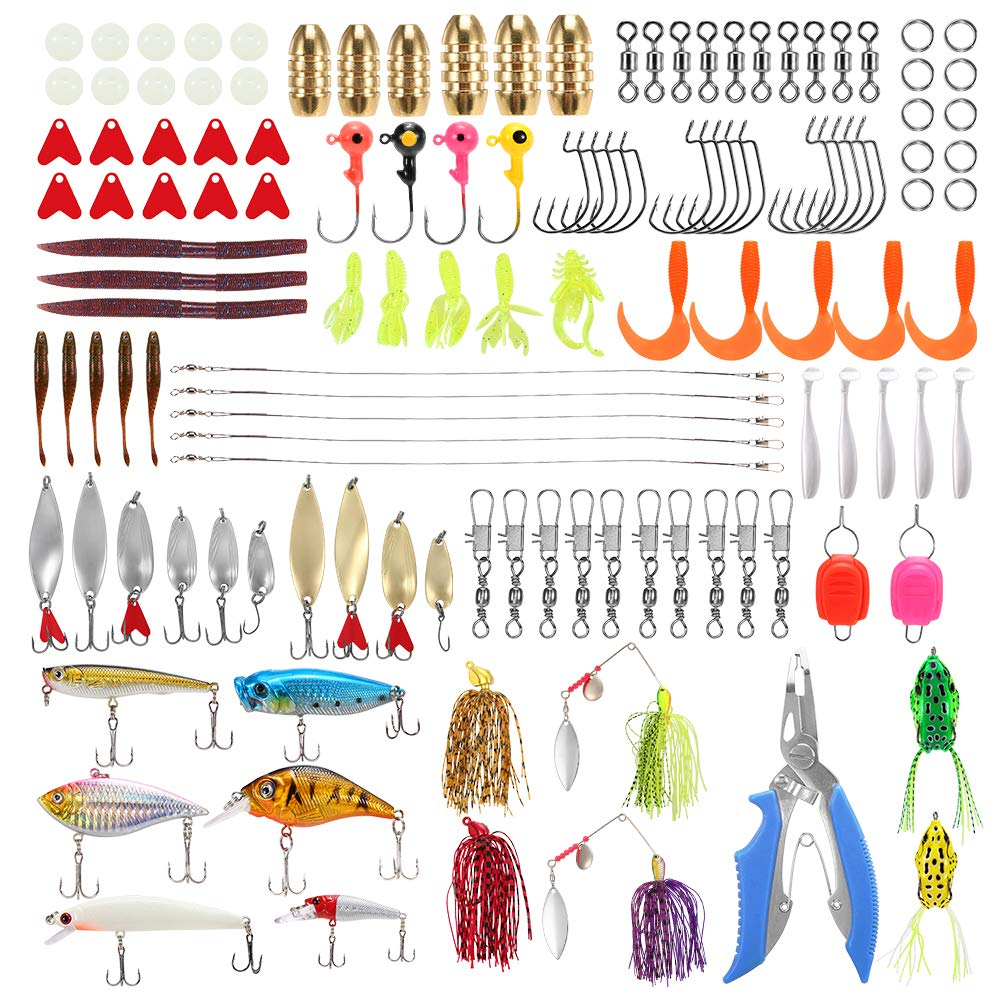 Festnight 129Pcs Fishing Lures Baits Tackle Combo Including Crankbaits, Spinnerbaits, Worms, Jigs, Fishing Hooks, Beads, Plier, Fishing Tackle Box and Other Fishing Gear Lures Kit