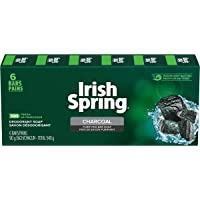Irish Spring Charcoal Bar Soap Body and hand Soap Bar Washes Away Bacteria 90g, 6 Count