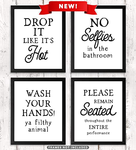 Amazon Com Paper Maven Delights Funny Bathroom Signs Unframed Set Of 4 Prints Humorous Wall Art 8 X 10 Inches Posters Prints