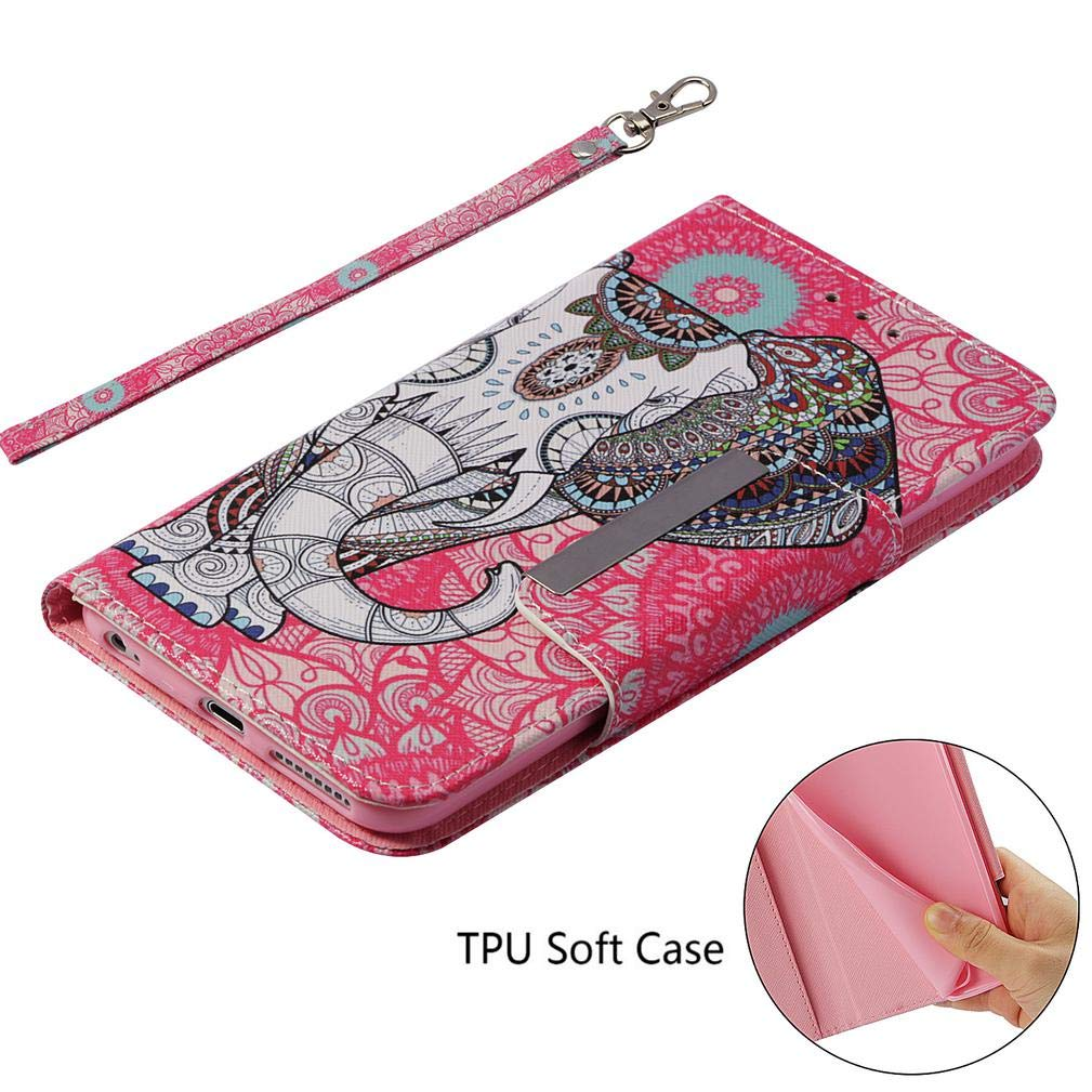 Amazon.com: iPhone 6 Plus/6S Plus Case,Flip 3D Printing Premium PU Leather Wallet Case Shock Absorbent Inner Soft Bumper Wrist Strap Kickstand Folio Card ...