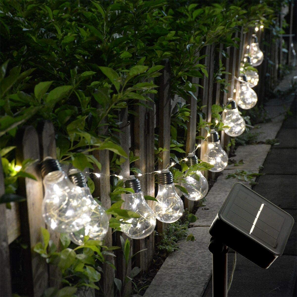 Homeleo Solar Hanging Lights, Outdoor Clear Bulb String Lights, Solar-Powered Patio Globe Fairy Lights for Garden Umbrella Gazebo Christmas Balcony Wedding Party Decor 100leds,10bulbs,Warm White