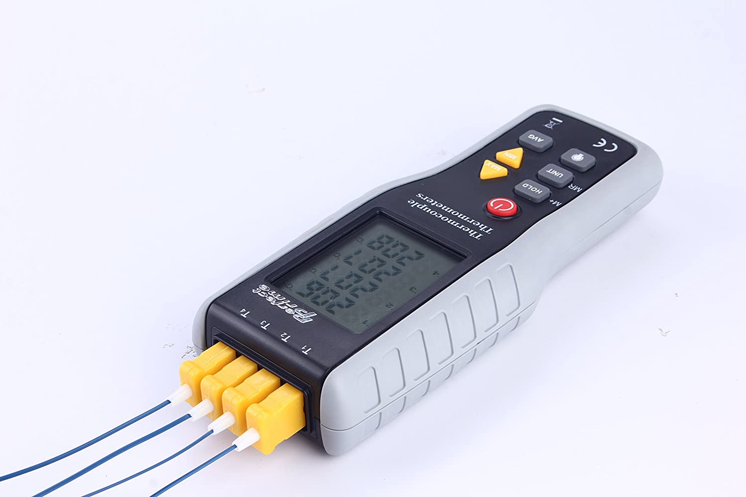 Perfect-Prime TC41/T1 4-Channel K-Type Digital Thermocouple Thermometer & Sensor with pipe clamp for -200~1372° C/2501° F Range of Temperature Measurement Perfect Prime