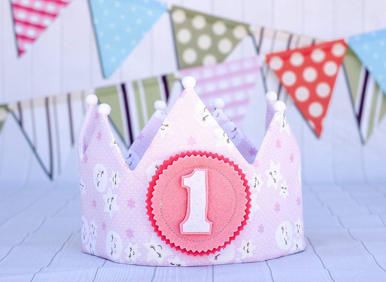 Corona de cumpleaños princesa rosa con blanco para la ...