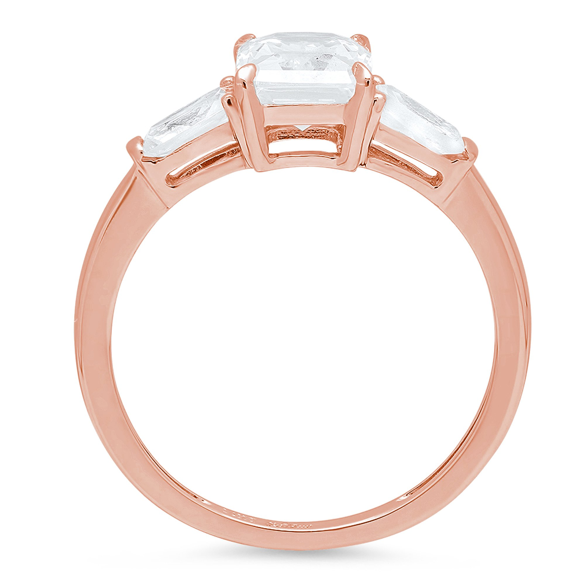 2.0ct Brilliant Emerald Cut Solitaire 3-Stone Engagement Wedding Bridal Anniversary Promise Band Ring Solid 14K Rose Gold for Women, 9.5 by Clara Pucci (Image #2)