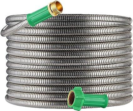 BEAULIFE 304 Stainless Steel Metal Garden Hose 50 Feet with Brass Garden Hose...