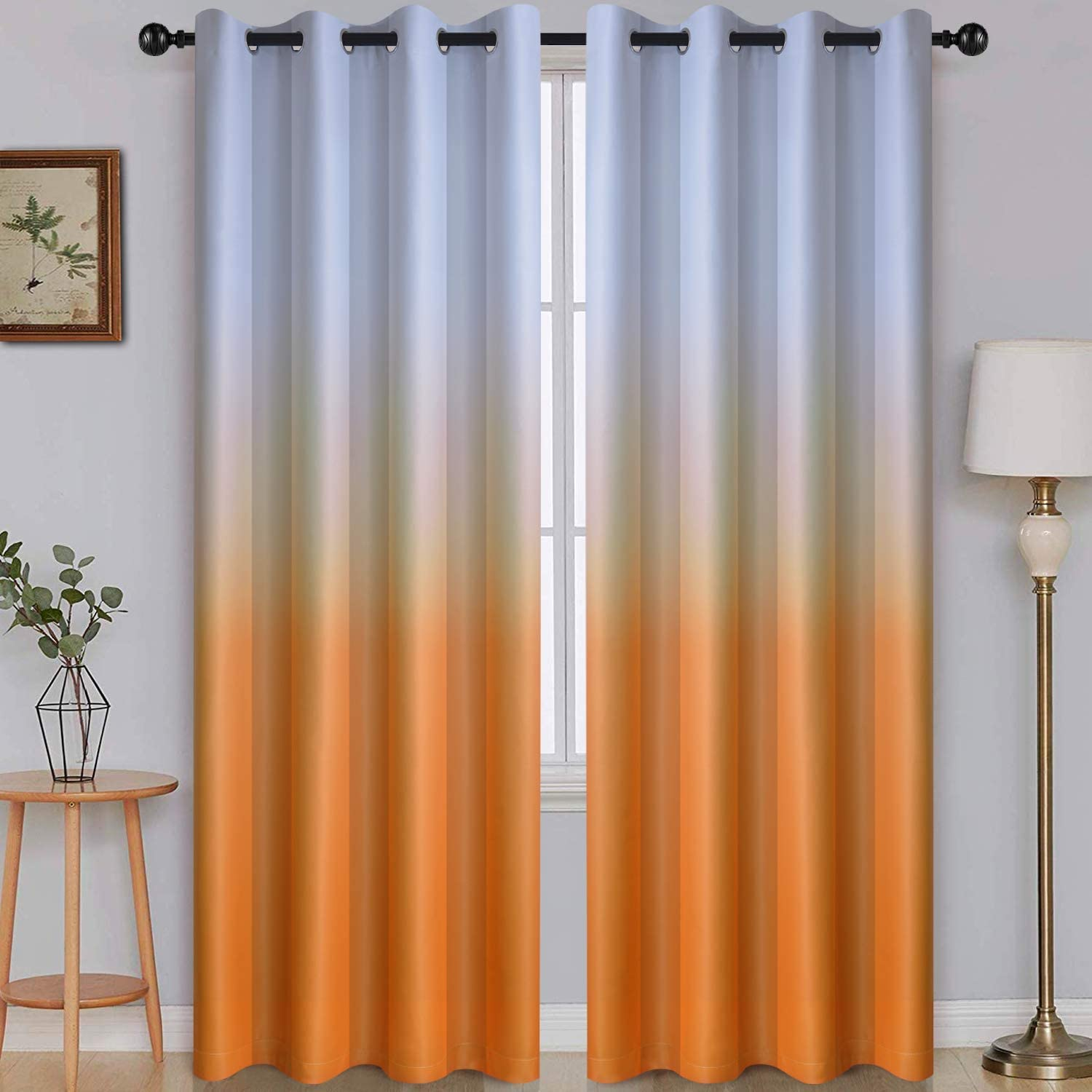 Ombre Room Darkening Curtains for Bedroom, Gradient Grey White to Orange Light Blocking Thermal Insulated Grommet Window Curtains /Drapes for Living Room ,2 Panels, 52x96 inches Length