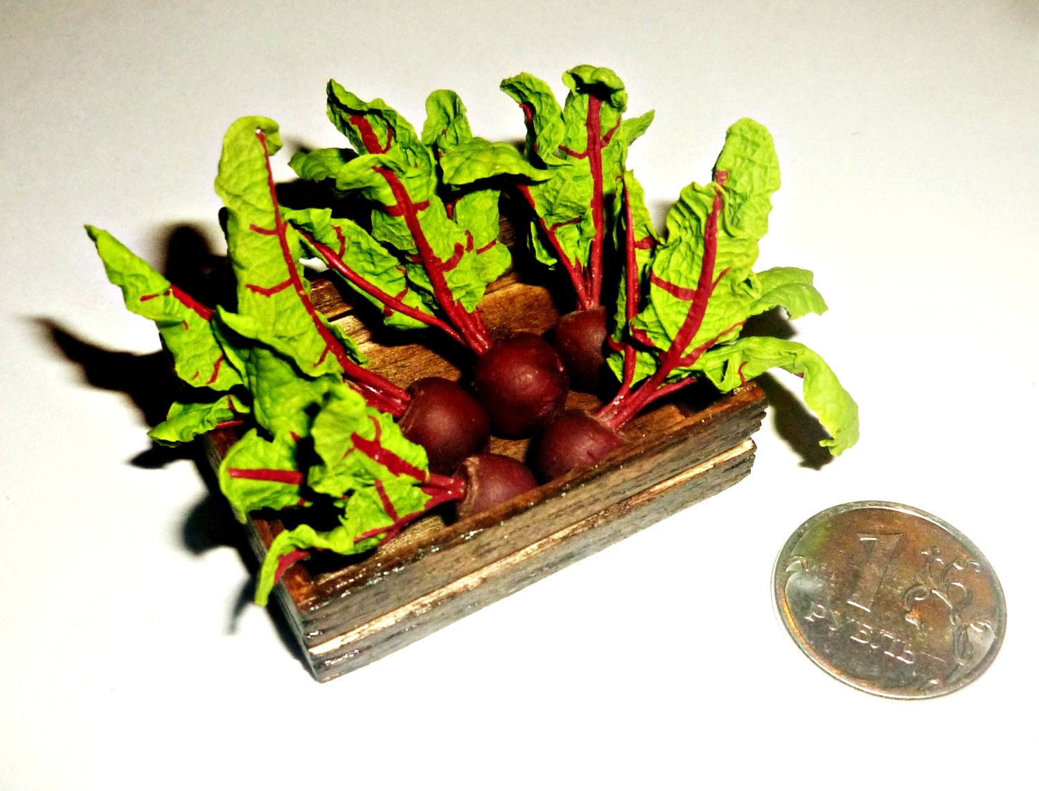 beets Carrots The vegetables for the garden Vegetables in the baskets and boxes radishes Dollhouse miniature 1:12