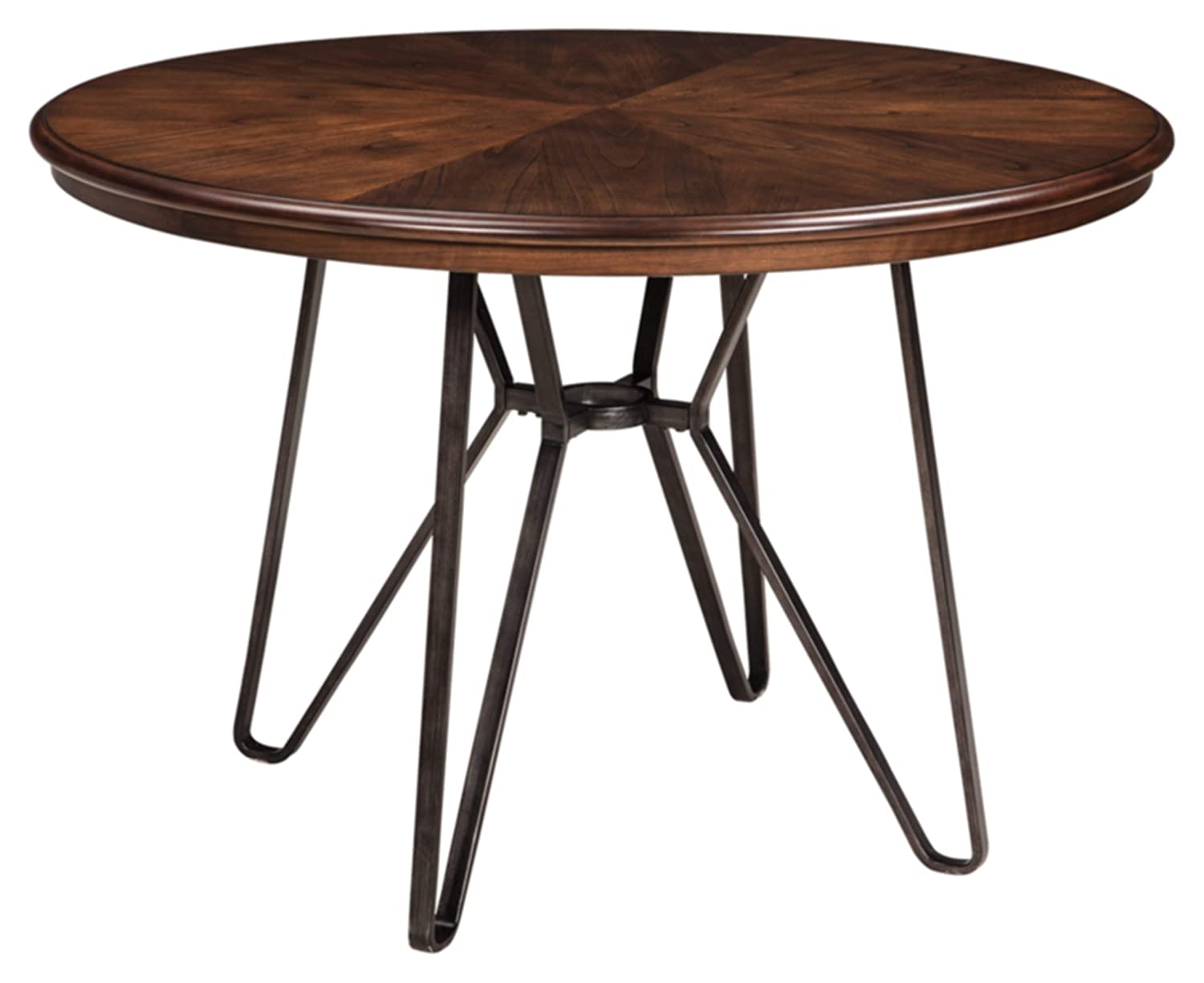Ashley Furniture Signature Design – Centiar Dining Room Table – Mid Century Modern Style – Round – Rustic Brown