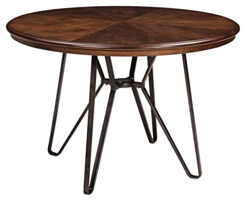 Signature Design by Ashley – Centiar Dining Room Table – Mid Century Modern Style – Round – Rustic Brown