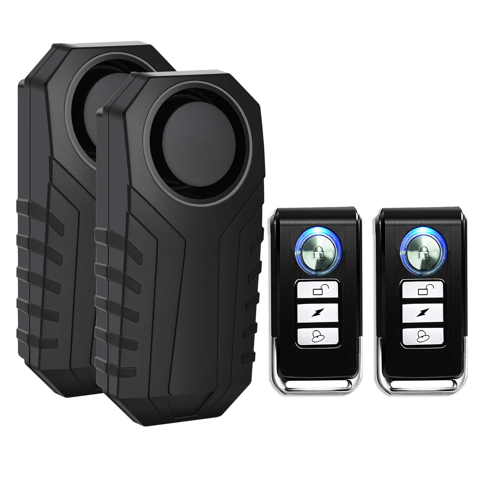 SuperInk 2 Set Wireless Bike Alarm with Remote, Anti-Theft Bicycle Motorcycle Alarm Wireless Security Vibration Motion Sensor Alarm, IP55 Waterproof Super Loud 113dB Alarm