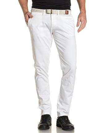 Chino Blanc Backlight Avec Pantalon Tressé Ceinture Homme HDIE29