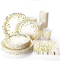 Halulu 200PCS Disposable Paper Plates Set - Birthday Anniversary Retirement Wedding Gender Reveal Bachelorette Party Supplies Tableware with 50 Dinner Plates, 50 Dessert Plates, 50 Paper