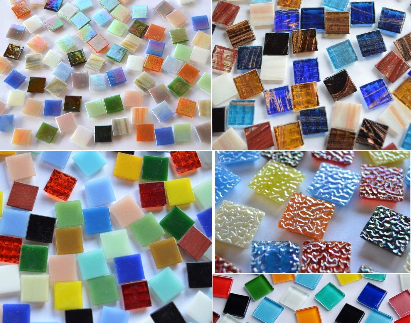 Bazare Masud e.K. Cristales Cuadrados para Mosaico, Multicolor, 15x 15mm Aprox. 760g, 500 Unidades
