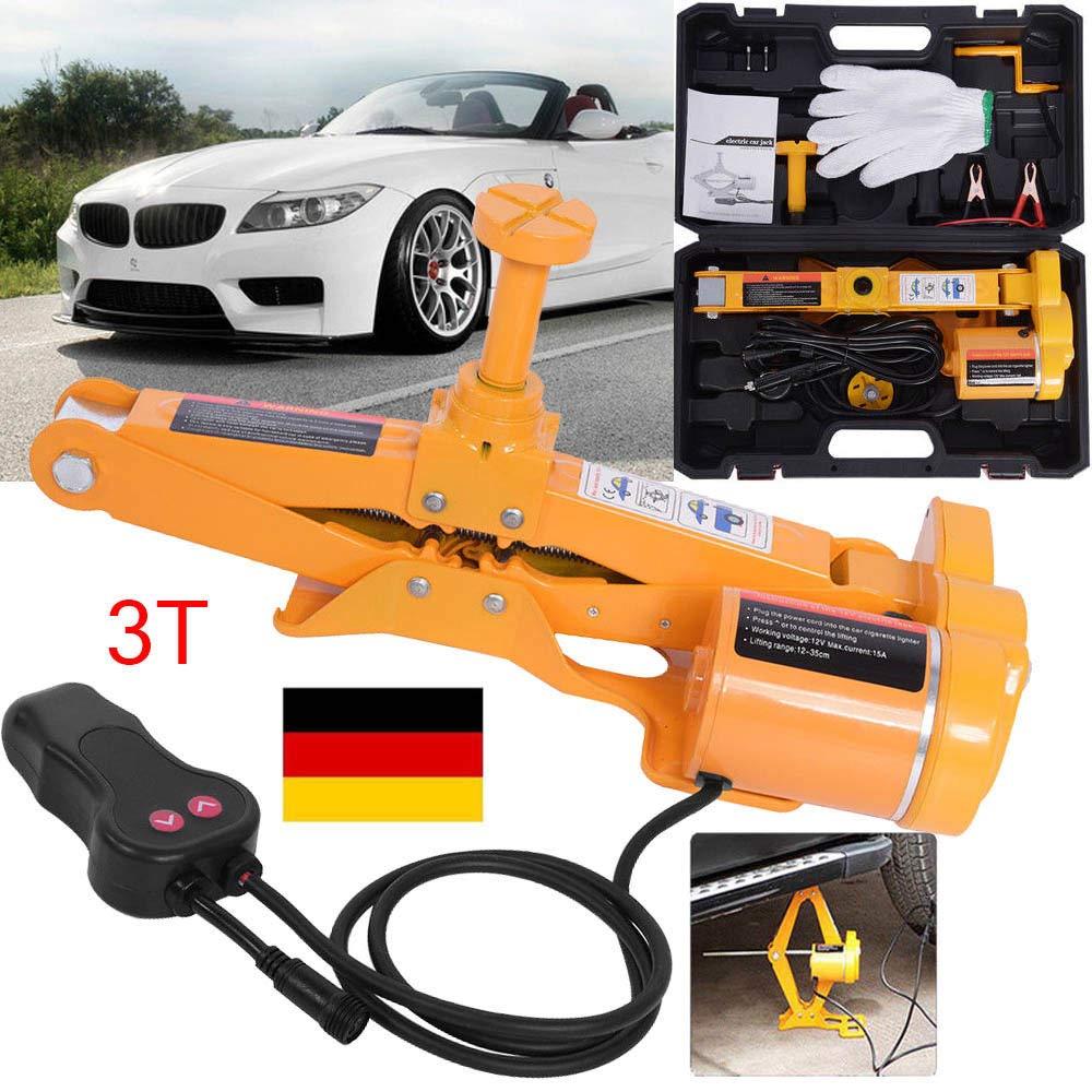 GOTOTOP 12V Elektrischer Wagenheber 3T Rangierwagenheber Scherenlift Heber f/ür Auto KFZ