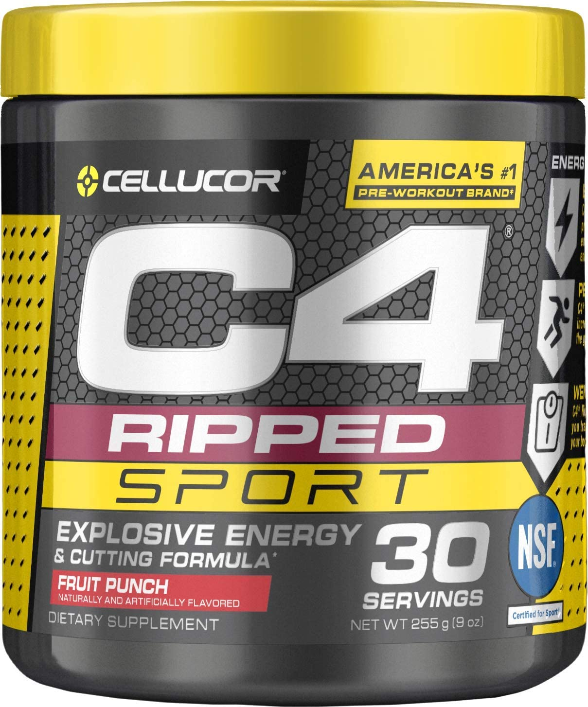 C4 Ripped Sport Pre Workout Powder Fruit Punch NSF Certified for Sport Sugar Free Preworkout Energy Supplement for Men Women 135mg Caffeine Weight Loss 30 Servings
