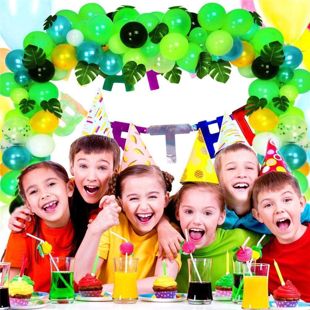 MMTX Selva Fiesta de cumplea/ños decoracion Ni/ñas-Feliz cumplea/ños feliz con Globos de latex Hojas de Palma y Safari Bosque Animal arco de globos para Baby Shower Decoraci/ón Cumplea/ños 1 2 3 a/ño
