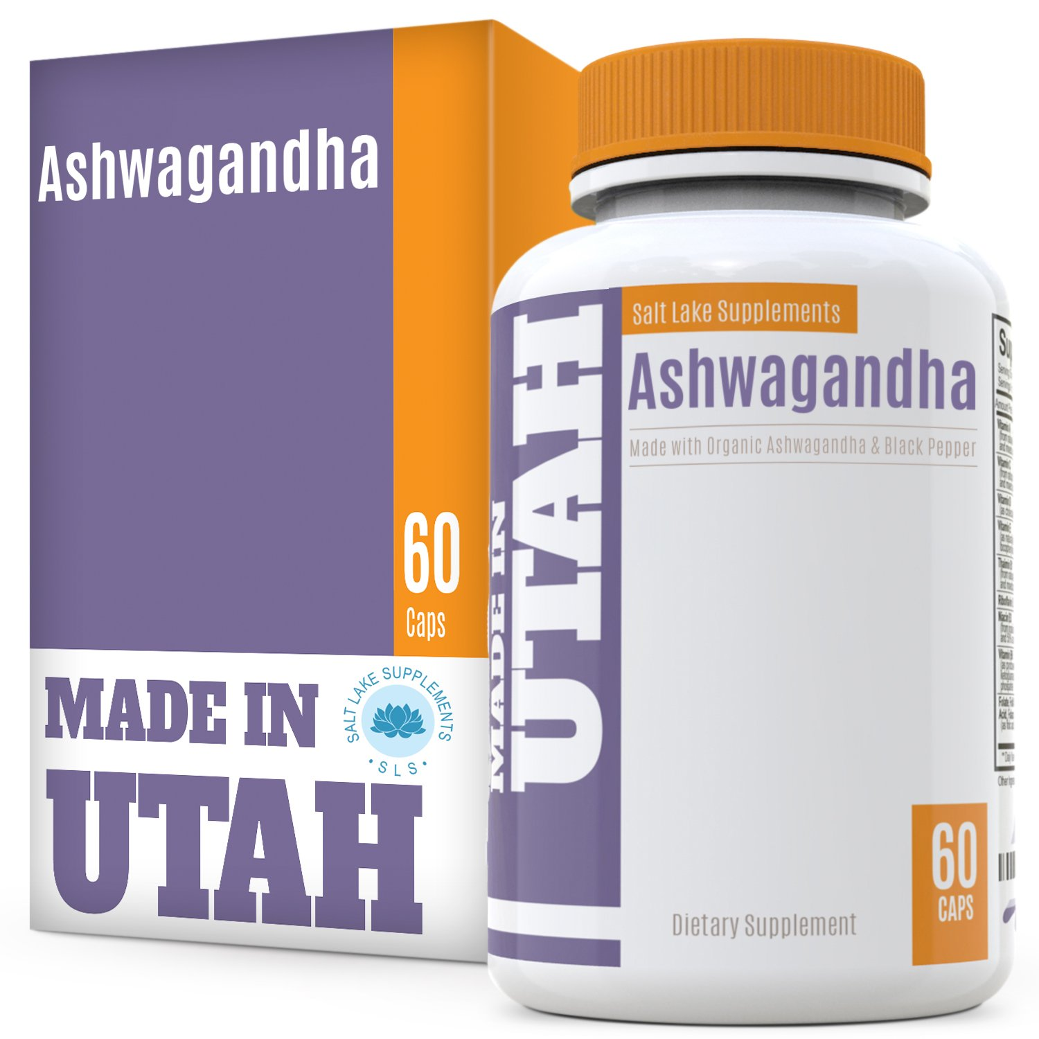 Organic Ashwagandha All Natural Anxiety Relief and Mood Enhancer to Help Combat Stress and Optimize Health, with Organic Black Pepper for Best Absorption and Bioavailability, 60 Capsules