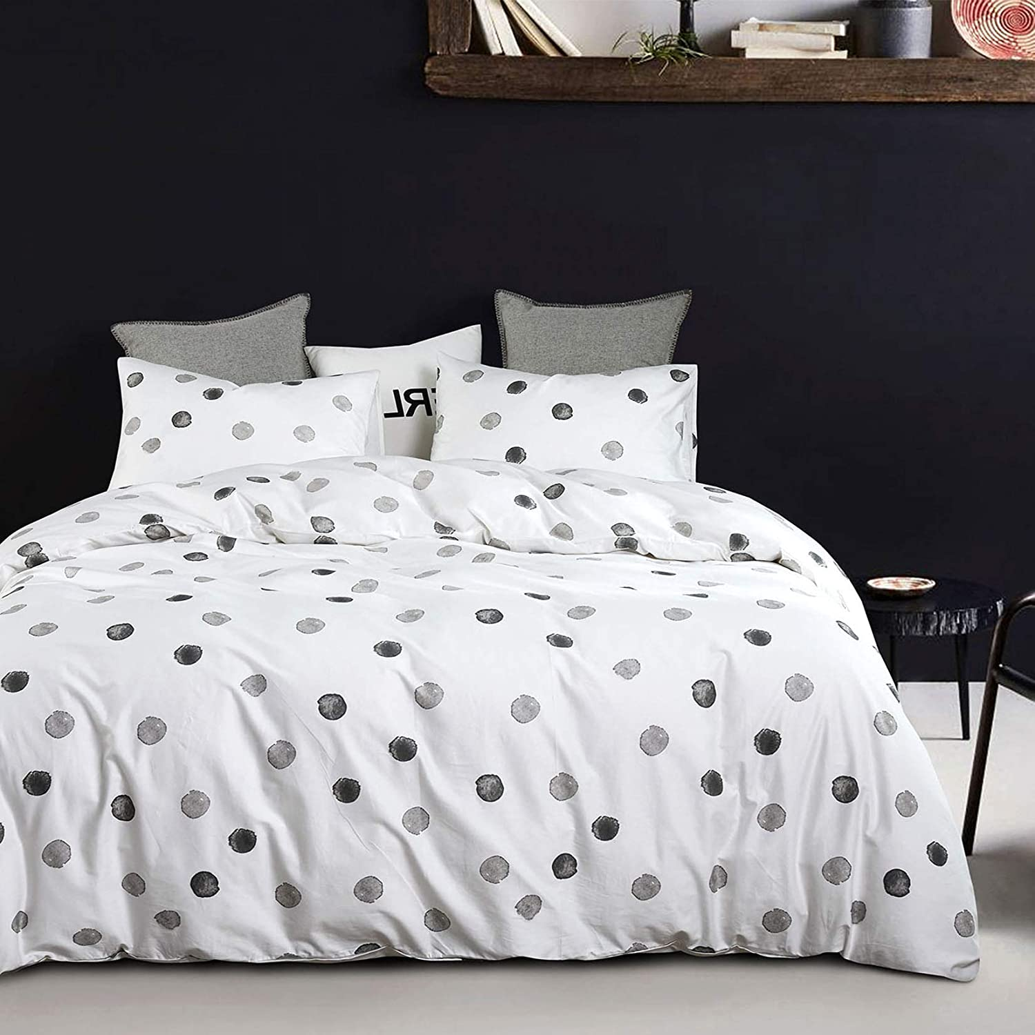 Wake In Cloud - Dotted White Comforter Set, 100% Cotton Fabric with Soft Microfiber Fill Bedding, Gray Grey Watercolor Dots Printed (3pcs, Queen Size)