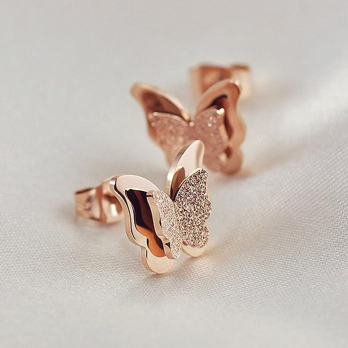 HooAMI Women's Rose Gold Stainless Steel Cute Butterfly Ear Stud Earrings Set/Necklace/Ring TVKGUq