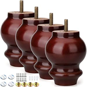 Alasdo Set of 4 Furniture Legs, 4 Inch Gourd Type Rubber Wood Legs for Furniture Coffee Finished Wood Legs for Sofa, Chair, Ottoman, Stool