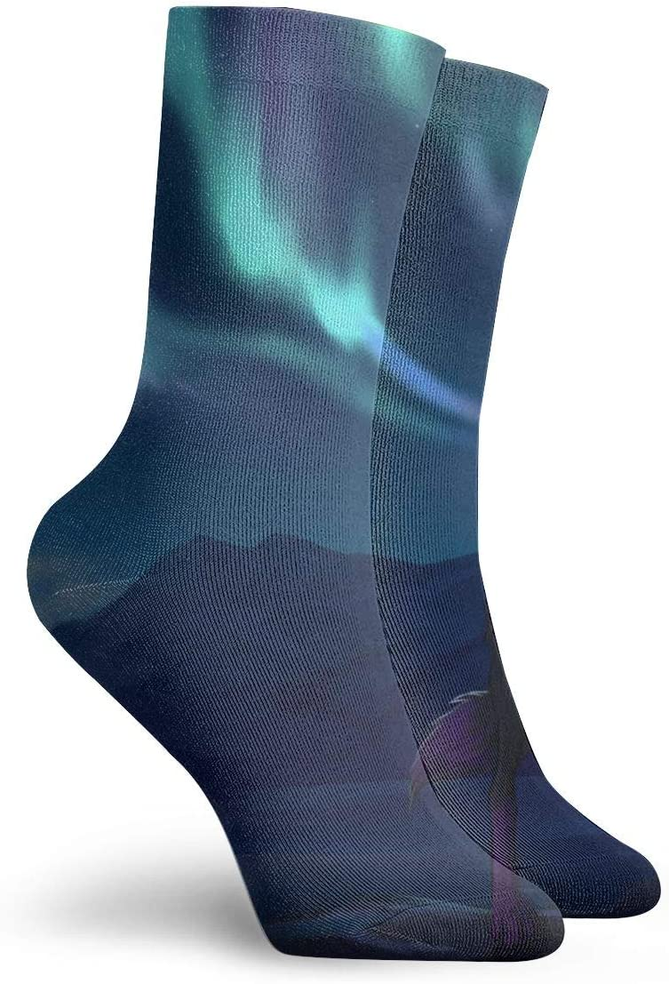 WEEDKEYCAT Fantasy Wolf Mountains Adult Short Socks Cotton Gym Socks for Mens Womens Yoga Hiking Cycling Running Soccer Sports