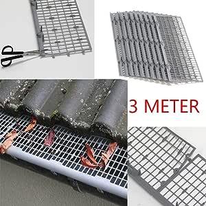 3metros de Profi Leaf Protector/canalón de protección, color gris, solo clip de soporte y conexión