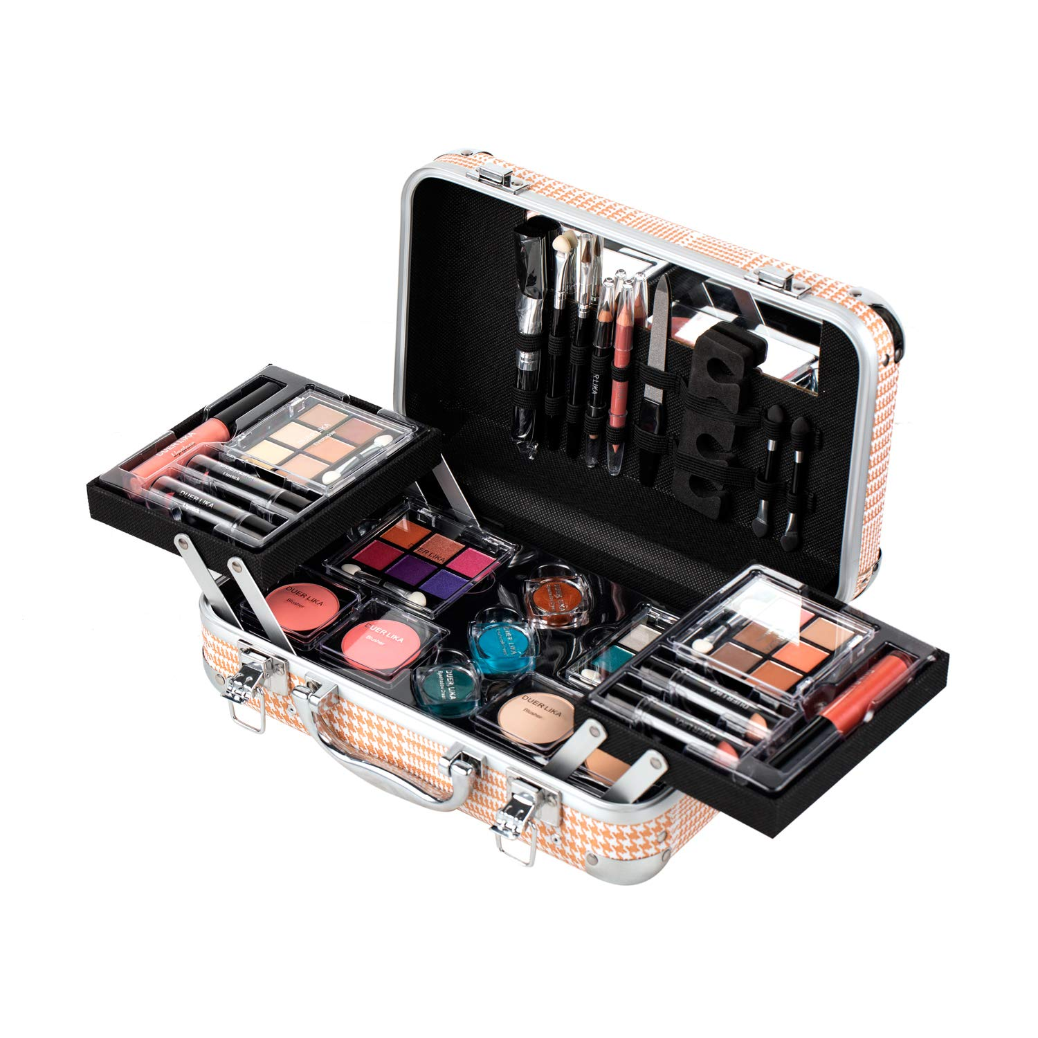 Maúve Carry All Trunk Train Case with Makeup and Reusable Black & White Aluminum Case (GOLD-18)